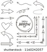 set of arrow doodle on white... | Shutterstock .eps vector #1160242057