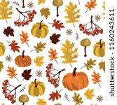 seamless pattern. autumn yellow ... | Shutterstock .eps vector #1160243611
