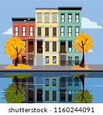 colored apartment buildings on... | Shutterstock .eps vector #1160244091