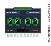 soccer football scoreboard with ... | Shutterstock .eps vector #1160244151