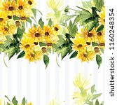 the pattern of blooming yellow... | Shutterstock . vector #1160248354