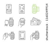 nfc payment linear icons set.... | Shutterstock .eps vector #1160249914