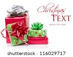 christmas presents stacked up... | Shutterstock . vector #116029717