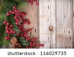 pine branches with christmas... | Shutterstock . vector #116029735