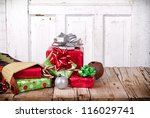 christmas presents spilling out ... | Shutterstock . vector #116029741