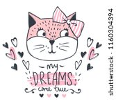 cute cat vector design. girly... | Shutterstock .eps vector #1160304394