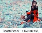 spring adult girl outdoor  ... | Shutterstock . vector #1160309551