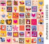 cute flowers, birds & hearts pattern - stock photo