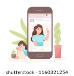 portrait of smiling woman on... | Shutterstock .eps vector #1160321254