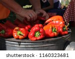red sweet pepper cooking on the ... | Shutterstock . vector #1160323681