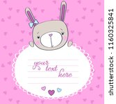 card with pretty bunny and... | Shutterstock .eps vector #1160325841