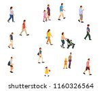 isolated  walking people with... | Shutterstock .eps vector #1160326564