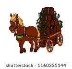 horse carrying a cart with beer ... | Shutterstock .eps vector #1160335144