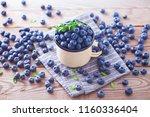lots of fresh blueberries  ... | Shutterstock . vector #1160336404