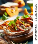 open sandwich with grilled... | Shutterstock . vector #1160358607
