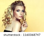 blonde  woman  with long  ... | Shutterstock . vector #1160368747