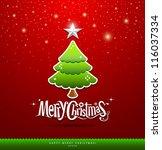 merry christmas lettering green ... | Shutterstock .eps vector #116037334