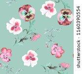 wild pansy watercolor... | Shutterstock . vector #1160390554
