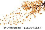 yellow autumn branch of a large ... | Shutterstock .eps vector #1160391664