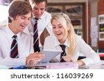 group of high school students... | Shutterstock . vector #116039269