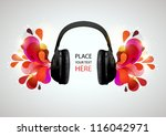 music headphones on gray...