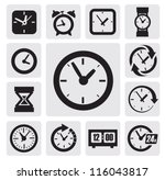 vector black clocks icons in... | Shutterstock .eps vector #116043817