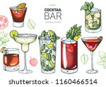 alcoholic cocktails hand drawn... | Shutterstock .eps vector #1160466514