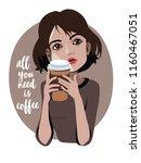 cartoon cute girl with a coffee ... | Shutterstock .eps vector #1160467051