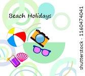summer holiday hat flip flops... | Shutterstock .eps vector #1160474041