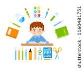 schoolboy at the school desk... | Shutterstock .eps vector #1160481751