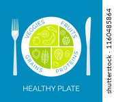 healthy plate concept. vector... | Shutterstock .eps vector #1160485864
