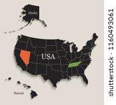 usa map with alaska and hawaii...   Shutterstock .eps vector #1160493061