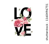 love. print for t shirt with... | Shutterstock .eps vector #1160496751
