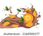 chocolate splash with orange.... | Shutterstock .eps vector #1160500177