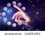 female hand pointing to zodiac... | Shutterstock . vector #116051401