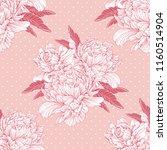 hand drawn linen peony flower ... | Shutterstock .eps vector #1160514904