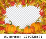 autumn leaves and pumpkins... | Shutterstock .eps vector #1160528671