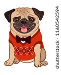 pug dog cartoon illustration.... | Shutterstock .eps vector #1160542594