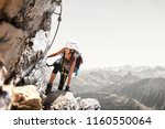 fit sporty young woman mountain ... | Shutterstock . vector #1160550064