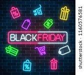 glowing neon sign of black... | Shutterstock .eps vector #1160576581