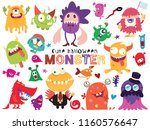 cute scary halloween monsters... | Shutterstock .eps vector #1160576647