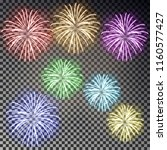 festive fireworks set.... | Shutterstock .eps vector #1160577427