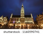 brussels town hall  grand place ... | Shutterstock . vector #1160590741