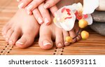care for beautiful woman legs...   Shutterstock . vector #1160593111