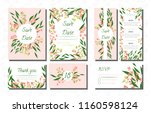 wedding card templates set with ... | Shutterstock .eps vector #1160598124