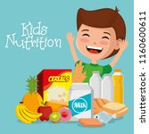 happy boy with nutrition food | Shutterstock .eps vector #1160600611