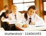 group of high school students... | Shutterstock . vector #116061451