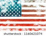 usa flag snowflake background | Shutterstock . vector #1160621074