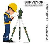 a surveyor is recoding data... | Shutterstock .eps vector #1160628031