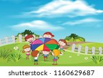 children playing at garden... | Shutterstock .eps vector #1160629687